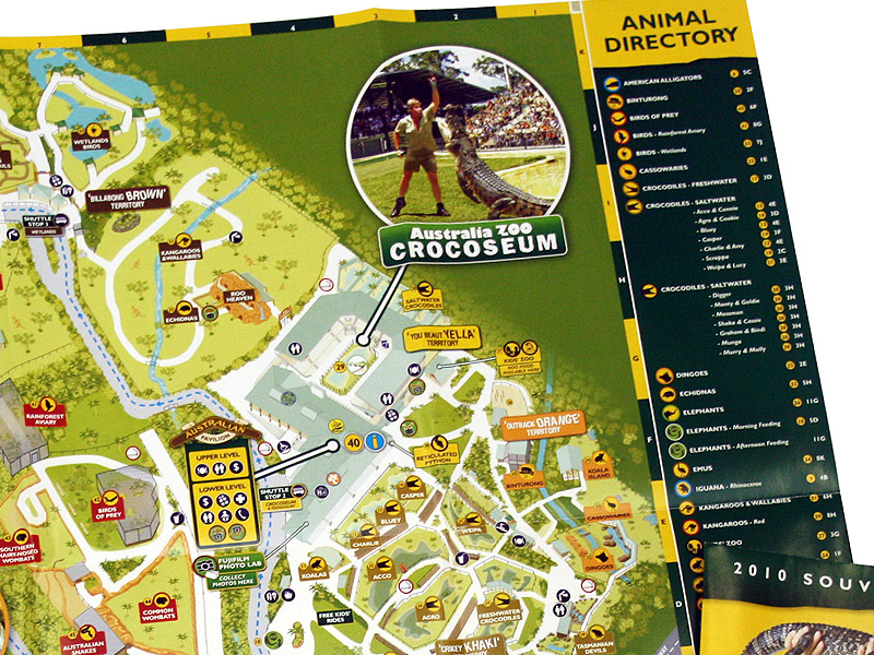 Australia Zoo Map Printed