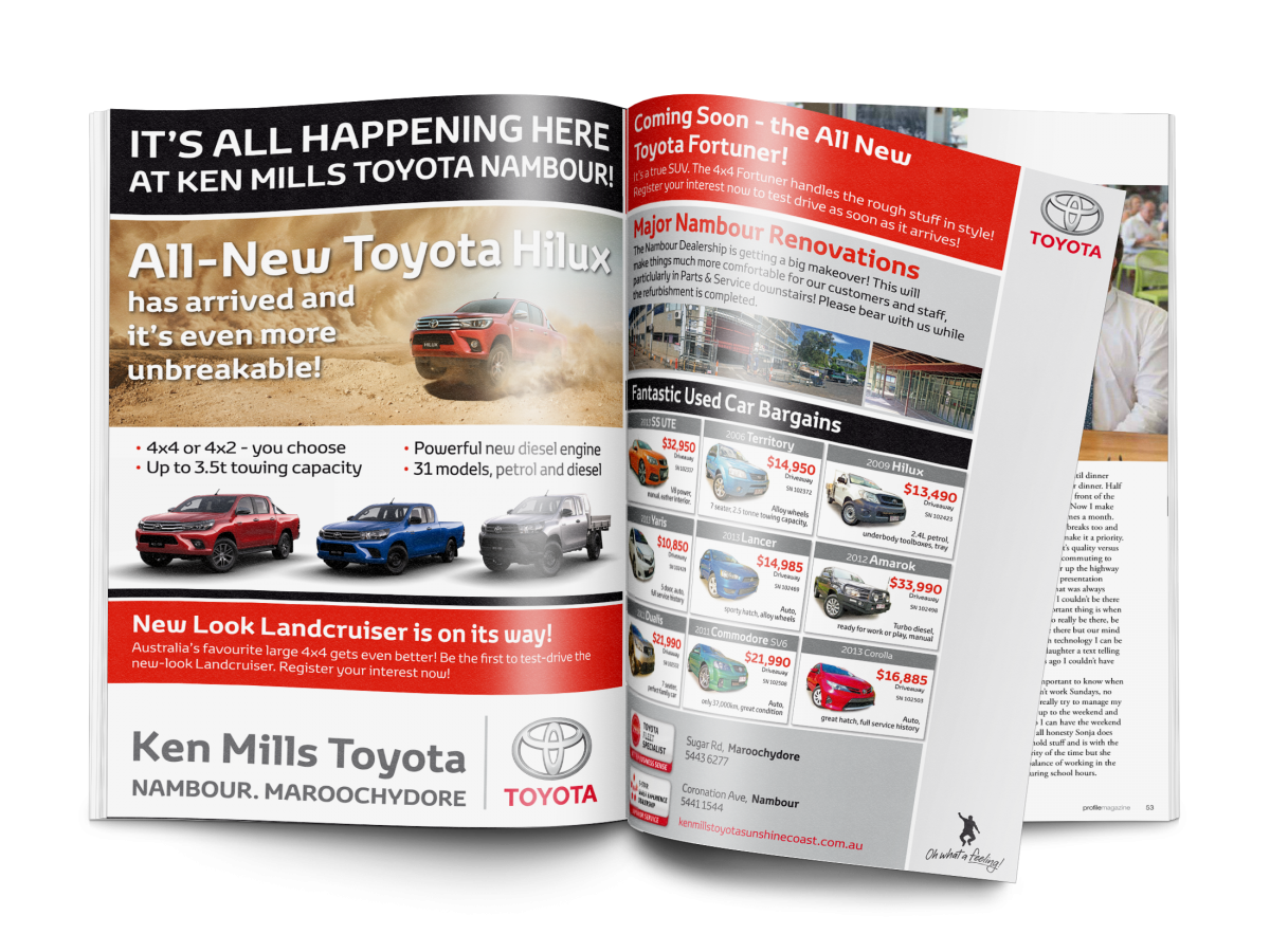 Ken Mills Toyota FP press ads