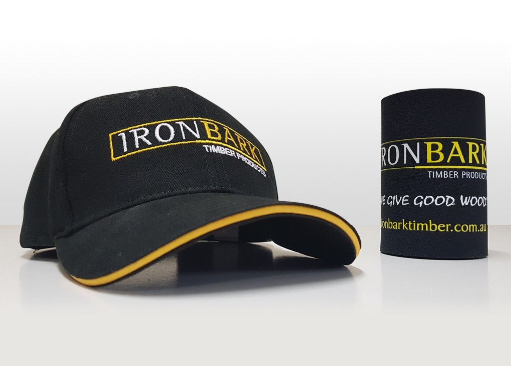 Ironbark cap and stubby cooler.