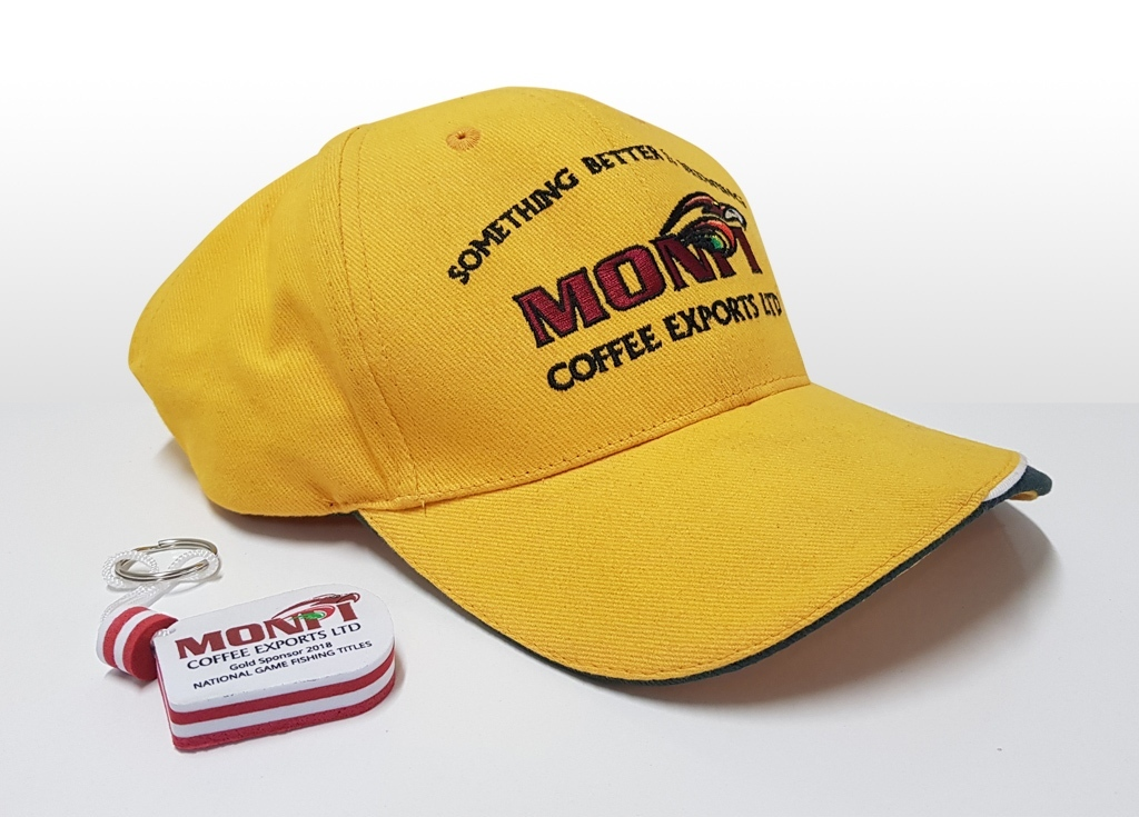 Monpi Cap and keyring for fishing comp.