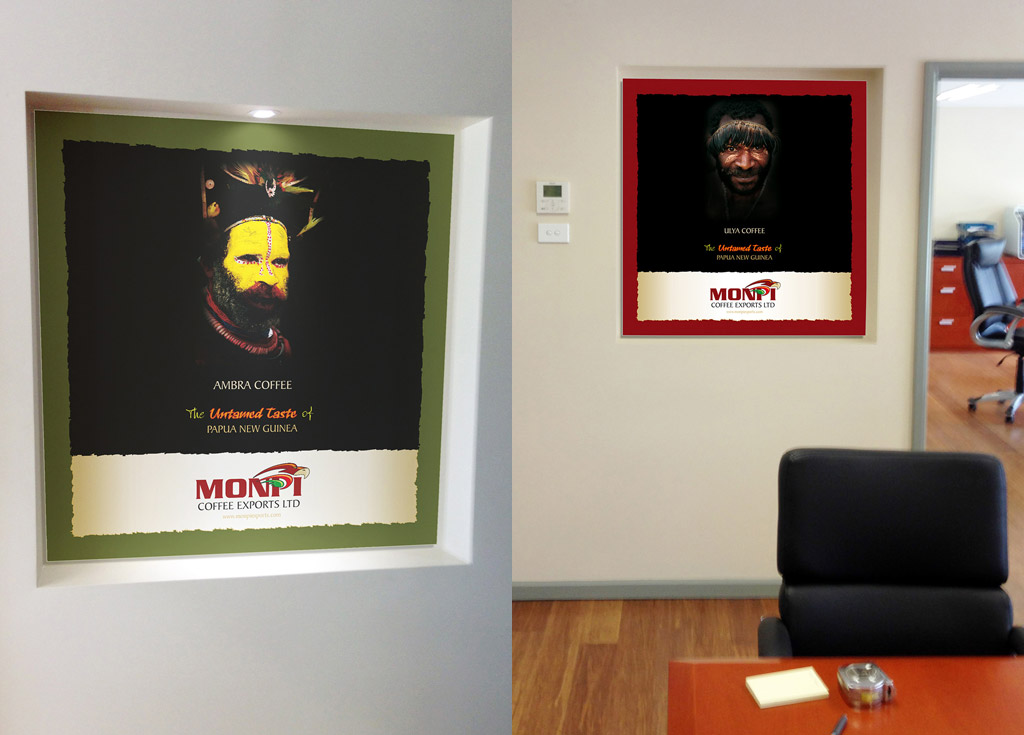 Monpi boardroom hanging fabric posters.