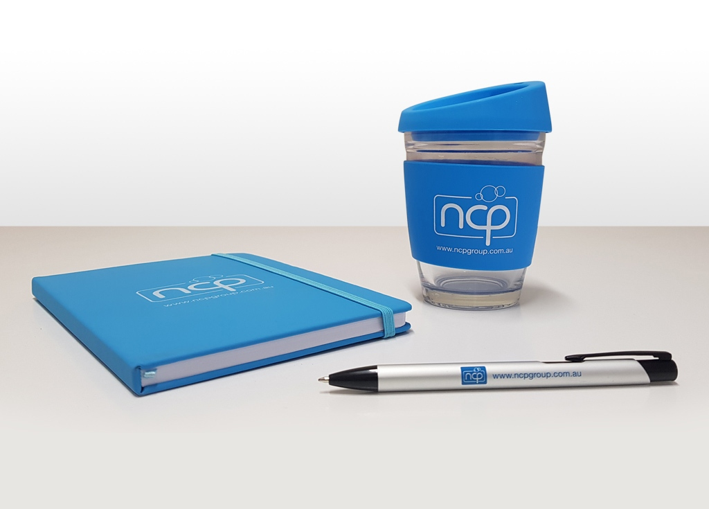 NCP branded promo cup, diary and pen